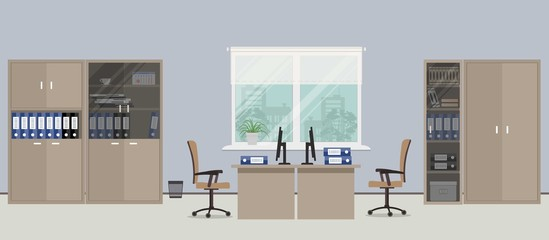 Office room in a blue color. There are tables, beige chairs, four cases for documents and other objects in the picture. Vector flat illustration