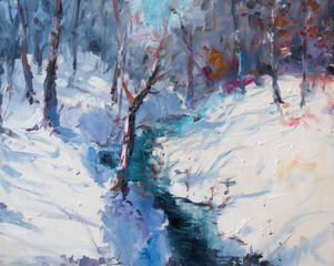 Art Oil Painting Winter Landscape. The Awakening of Nature. Spring is coming.