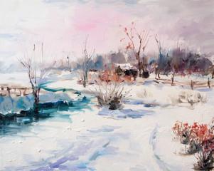Art Oil Painting Picture Winter Landscape