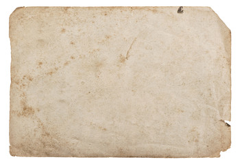 Old paper sheet isolated white background cardboard texture Wall mural