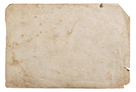 Old paper sheet isolated white background cardboard texture