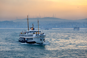 Passenger Ferry in the Bosphorus at dawn, Istanbul, Turkey