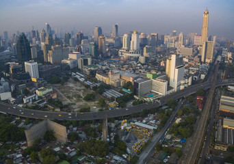 aerial view of bangkok thailand capital skyline in heart of busi
