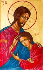 Bratislava, Slovakia, 2016/12/06. Icon of Jesus Christ blessing Saint John the Apostle on his chest.