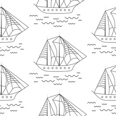 Sailing boat seamless outline vector pattern in doodle style. Boat and waves fine lines textile fabric white and black surface background.
