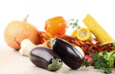 fresh vegetables - eggplant,squash,corn,peppers, onions
