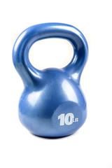 Blue 10 pound kettlebell isolated on white background