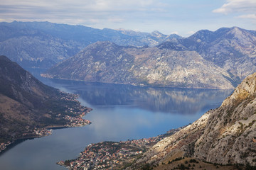 High view of the fjord at Kotor Bay, Kotor, UNESCO World Heritage Site, Montenegro, Europe