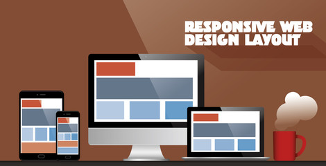 Fully responsive web design in electronic devices vector