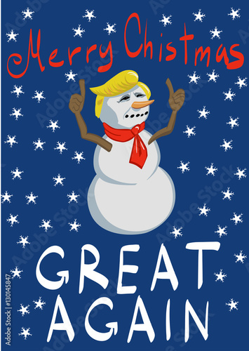 trump looking snowman with thumbs up on ba merry christmas will be