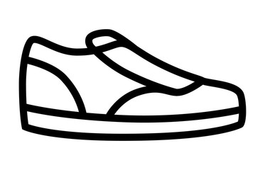 Sneaker / sneakers casual or athletic shoes line art icon for apps and websites