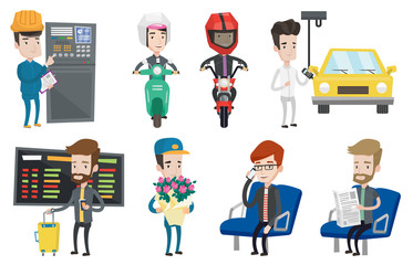 Set of industrial workers and people traveling.