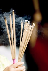 Incense sticks, Chinese moon festival, Georgetown, Penang, Malaysia, Southeast Asia, Asia