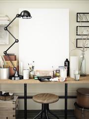 Artist work space mock up. 3d rendering