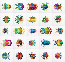 Set of Christmas Snowflake Banner Templates