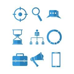 SEO icon flat blue vector