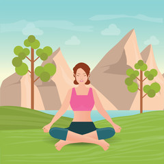 Calm woman is doing yoga and meditation.