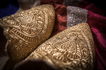 Traditional golden bridal shoes, Morocco