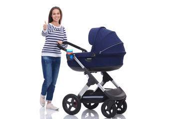 Full length portrait of mother with a stroller showing ok, isolated on white background