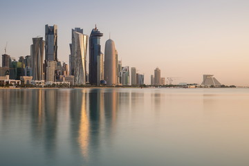 New skyline of the West Bay central financial district of Doha, Qatar, Middle East
