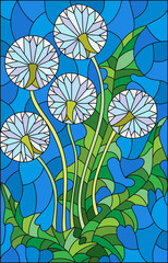 Illustration in stained glass style flower of blowball on a blue background