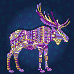 Illustration with abstract moose on a dark blue floral background