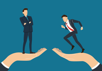 hand holding Successful businessman standing with crossed arms and running businessman