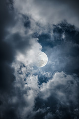 Nighttime sky with clouds, bright moon would make a great backgr
