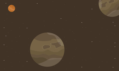 Outer space planet on brown backgrounds