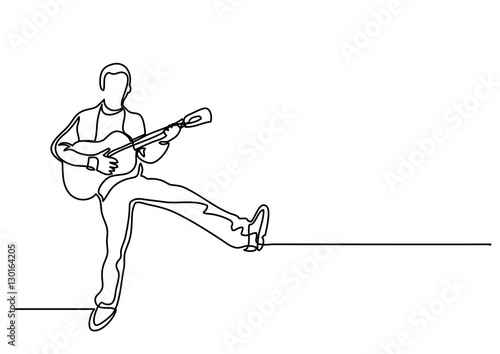 Continuous Line Drawing Of Happy Man Playing Guitar