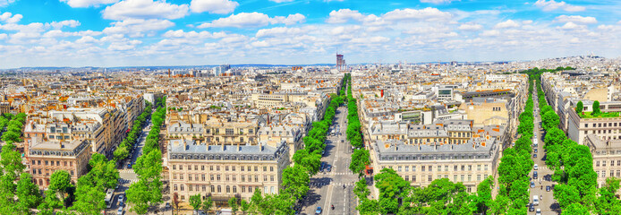 Fotomurales - Beautiful panoramic view of Paris from the roof of the Triumphal