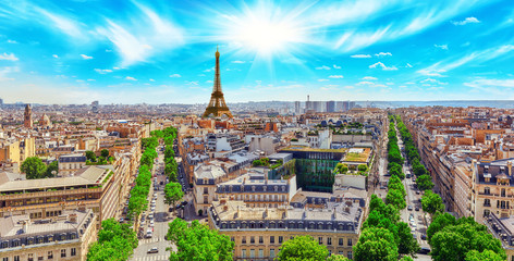 Wall Mural - Beautiful panoramic view of Paris from the roof of the Triumphal