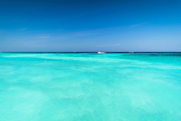 Wall Murals Green coral Vast and Blue ocean, Beautiful Blue water surface at the open sea