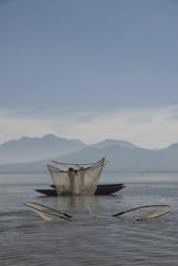 Fishermen with traditional butterfly nets, Lago de la Patzcuaro, Patzcuaro, Michoacan, Mexico, North America