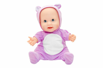 Children's toy doll in purple clothes with a hood