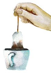watercolor sketch of cup of tea with tea bag on white background