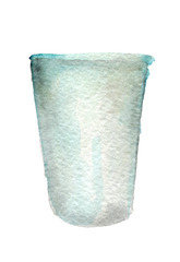 watercolor sketch of empty plastic cup on white background