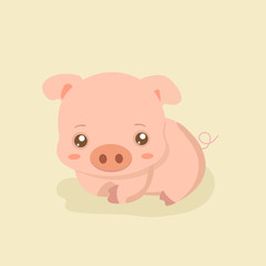 Funny pig vector.