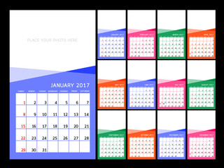 Calendar 2017 year.  Vector  illustration Design Template. Set of 12 Months. Week Starts Sunday.