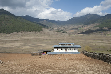 Small farmstead in the wide and shallow Phobjikha Valley, where the black-necked crane spends the summer, Phobjikha, Bhutan, Asia