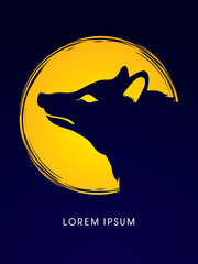 Face Fox designed on moonlight background graphic vector.