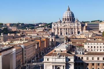 St Peter's Basilica and street via Conciliazione