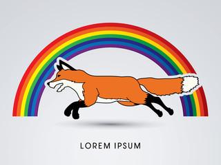 Fox Running designed on rainbows background graphic vector.