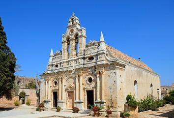 Front view of Arkadi Monastery, Crete.