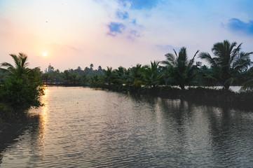 Church on horizon, Beach road from Mararikulam to Kochin, Kerala, state, India