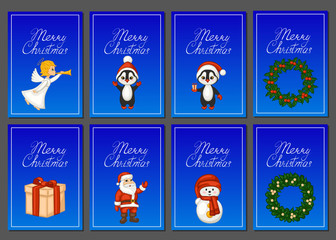 "Set of Christmas cards. Santa Claus, snowman, penguins, gift, Christmas angel, wreath and text ""merry Christmas"" on the background of the night snow."