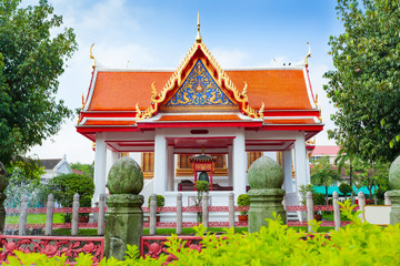 Beautiful white marble monastery Wat Benchamabophit in Bangkok. Thailand. Four princesses pavilion