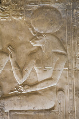 Bas-relief of the Goddess Sekhmet, Temple of Seti I, Abydos, Egypt, North Africa, Africa