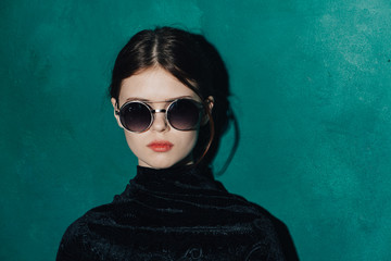 Young beauty woman in glasses