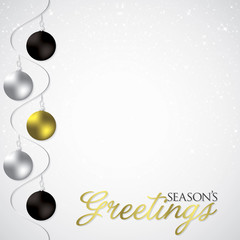 Elegant swirly bauble Christmas card in vector format.